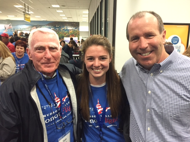 Supervisor Monaghan pictured with Erin Madden at Hudson Valley Honor Flight, supporting World War II & Korean War Veterans