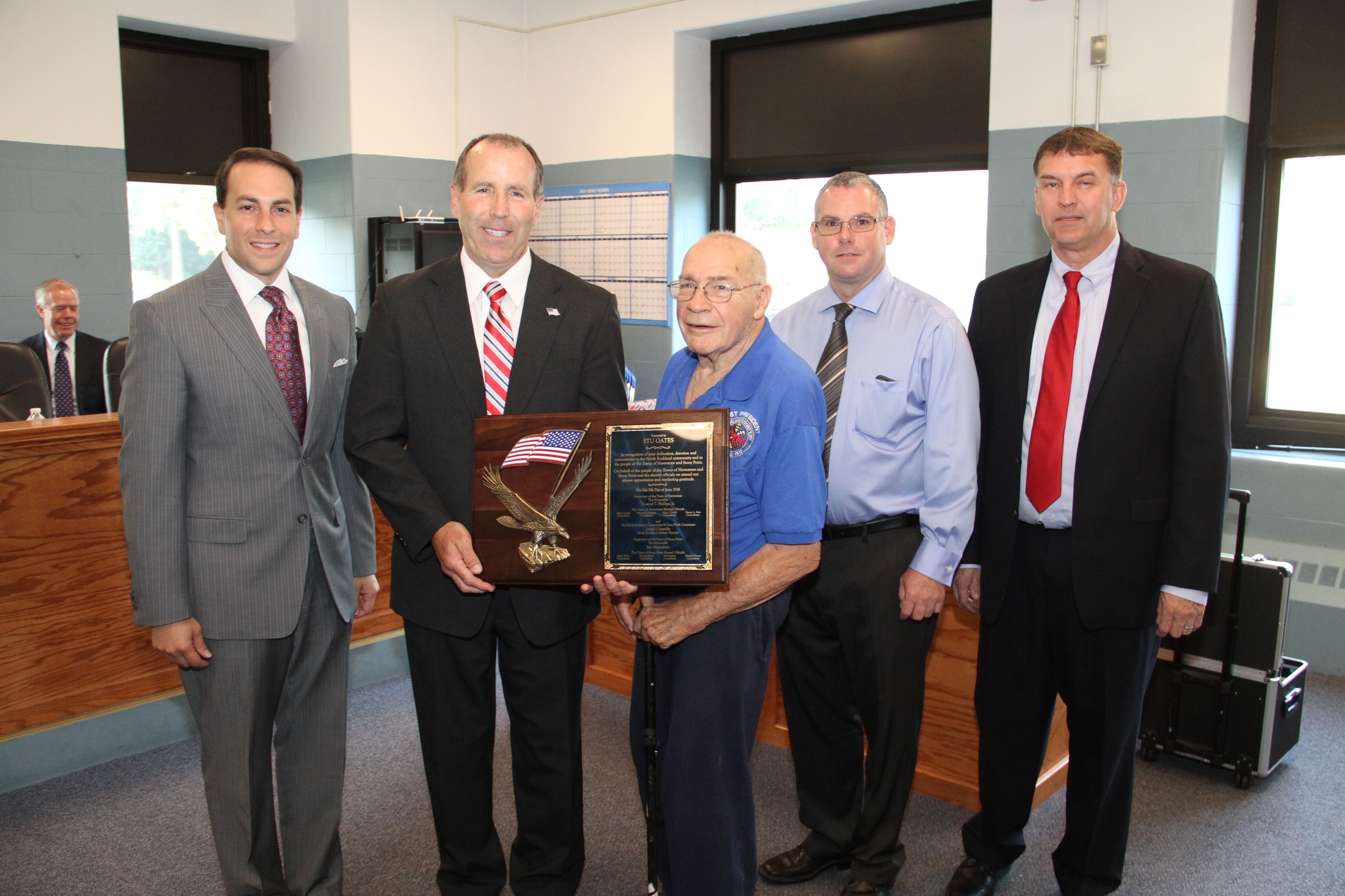 Recognition Award presented to Stu Gates for his dedication and devotion to the North Rockland Community