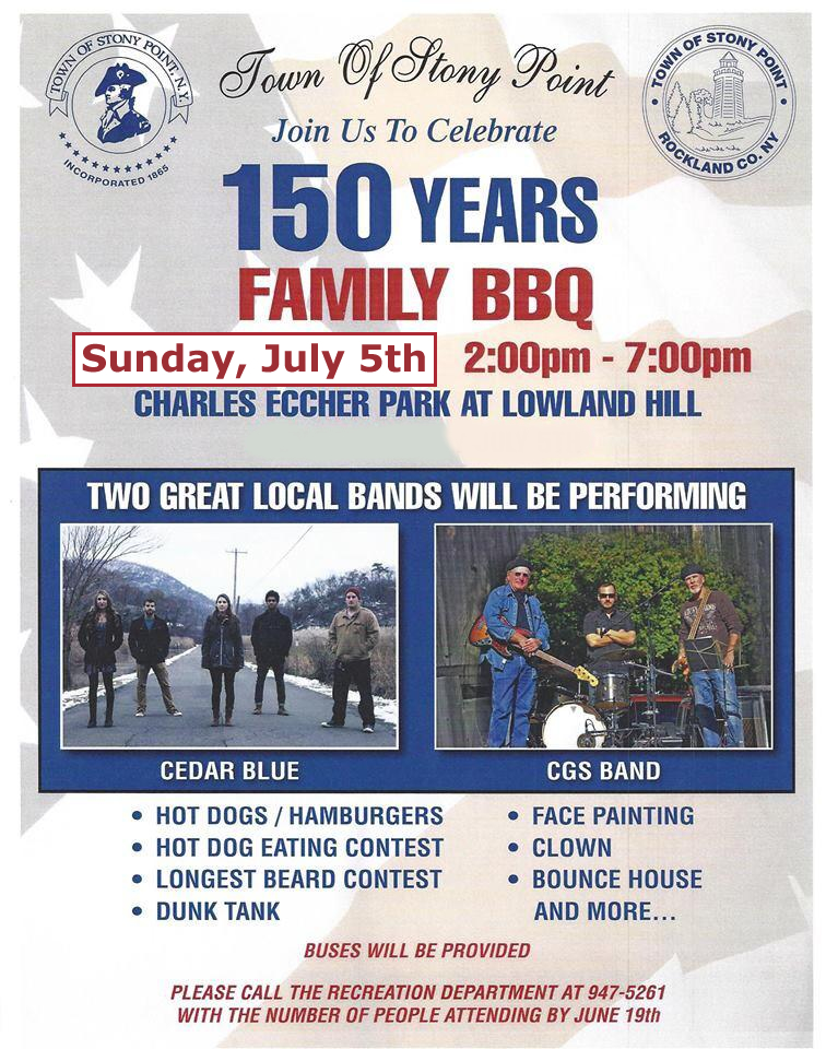 Town of Stony Point Family BBQ Postponed until Sunday, July 5th - Weather